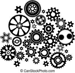 Mecanismo complejo de varios engranajes y ruedas de engranaje