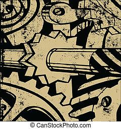 Mecanismo en papel viejo, ilustración vectora