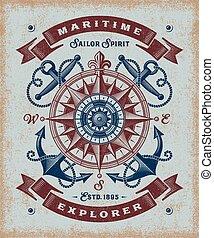 Mecanografía antigua de explorador marítimo