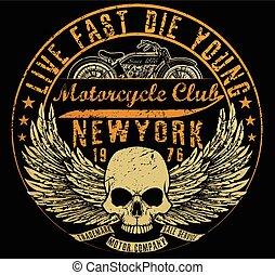 Mecanografía de motocicleta, gráficos de camisetas, vectores