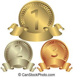 Medallas de oro, plata y bronce (vector)
