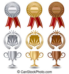 Medallas de plata de oro y bronce