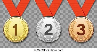 Medallas deportivas de oro, plata y bronce