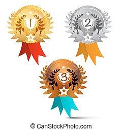 Medallas puestas. Premios Vector símbolos aislados en el fondo blanco.