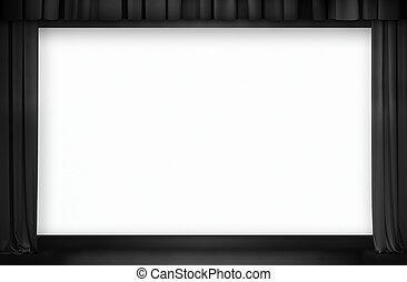 media., cine, negro, pantalla, curtain., mezclado
