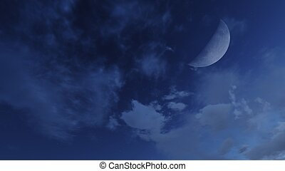 Media luna en un cielo nocturno nublado