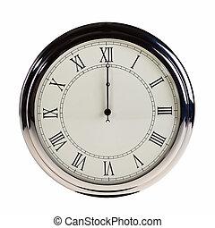medianoche, encima, reloj, aislado, o, fondo., retro, blanco, mediodía