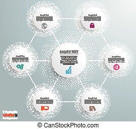 Medias foográficas en círculos de redes de hexagon