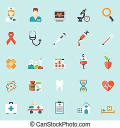 Medicamentos y íconos de salud al estilo plano