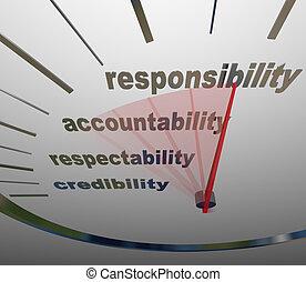 medición, deber, nivel, accountability, reputación, responsabilidad