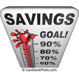 medición, dinero, aumento, ahorros, termómetro, nestegg