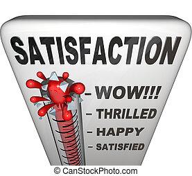 medición, nivel, satisfacción, cumplimiento, termómetro, felicidad