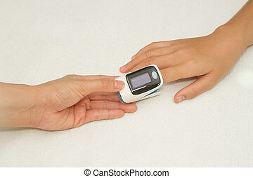 medición, oximete, oxígeno, doctor, pulso, tasa, niveles