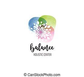 Medicina alternativa y bienestar, yoga, concepto de meditación zen... vector de icono acuarela, logo