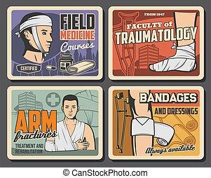 medicina, ayuda, primero, campo, cursos, traumatology