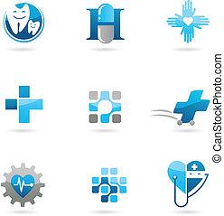 Medicina azul y íconos de atención sanitaria y logos