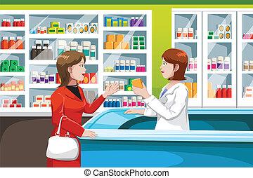 medicina, compra, farmacia