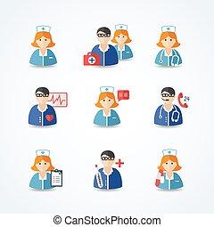 medicina, enfermeras, doctors, iconos, conjunto