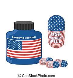 Medicina patriótica USA. Pastillas con bandera de América. Ilustración de vectores. Botella con pastillas.