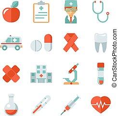 medicina, salud, iconos, cuidado