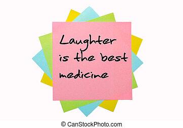 """medicine"""", pegajoso, coloreado, texto, notas, mano escrita, """"laughter, fuente, mejor, ramo"""