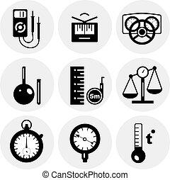 medida, vector, negro, iconos