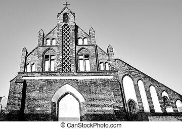 medieval, iglesia, católico, fachada