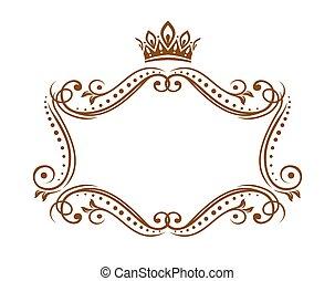 medieval, real, vector, frontera, marco, corona
