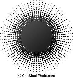 Medio elemento radial aislado en el fondo blanco.