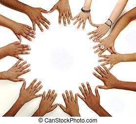 medio, espacio de copia, elaboración, plano de fondo, conceptual, blanco, multiracial, niños, símbolo, círculo, manos