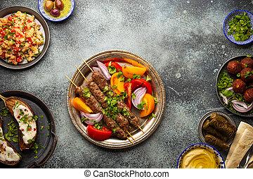 medio, tabla, oriental, cena