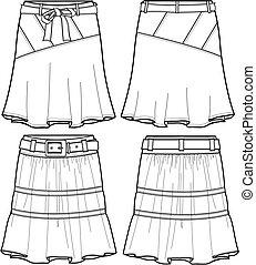 medio, tela vaquera, dama, faldas, ilustración