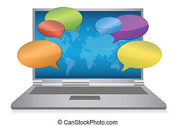 medios, concepto, internet, social