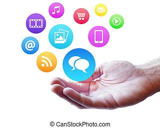 medios, concepto, webdesign, internet, social