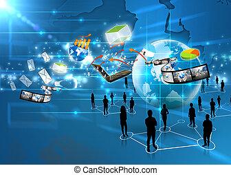 medios, equipo, social, empresa / negocio