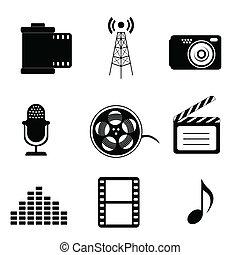 medios, masa, iconos