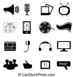 medios, multimedia, o, iconos