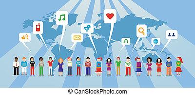 medios, red, social