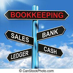 medios, ventas, señal, efectivo, libro mayor, teneduría de libros, banco