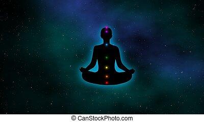 meditación, brillo, hombre, chakras, aura, galaxia