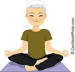Meditando al hombre superior del yoga