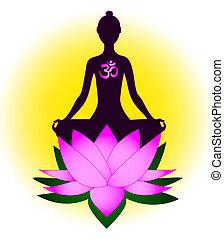 meditar, mujer, símbolo del om