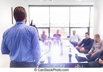meeting., empresa / negocio, presentación corporativa