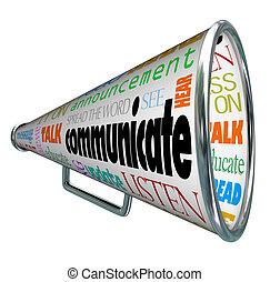 megáfono, comunicarse, megáfono, extensión, palabra