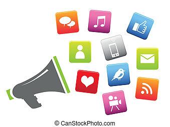Megáfono con iconos de los medios sociales