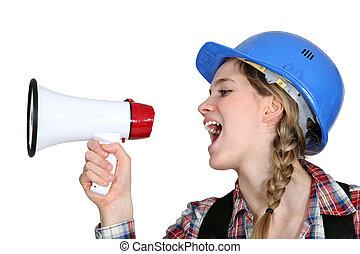 megáfono, hembra, predicación