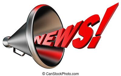 megáfono, metal, palabra, rojo, noticias