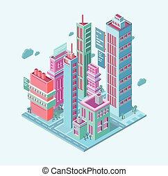 megalópolis, isométrico, city., rascacielos, empresa / negocio, torres, moderno, edificios, ilustración, vector, plano de fondo, blanco, edificio.
