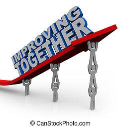 Mejorando juntos el equipo levanta flechas para el éxito del crecimiento
