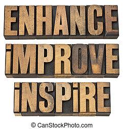 mejorar, inspirar, aumentar